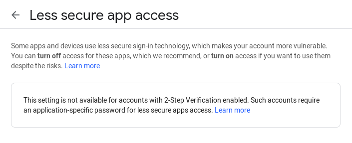 2FA Rejected Less Secure Apps Option