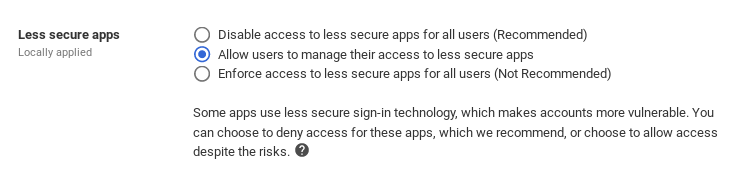 Enable Less Secure Apps for Managed Users